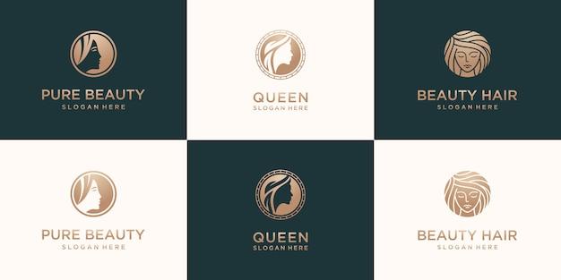 Zestaw kolekcji eleganckiej kobiety salon fryzjerski złoty gradient logo