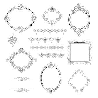 Zestaw kolekcji elementów kaligraficznych, ramek, znaków