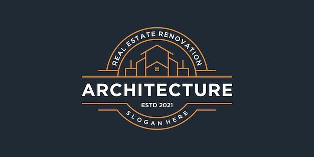 Zestaw Kolekcji Emblematów Architektury Budynku Premium Wektorów