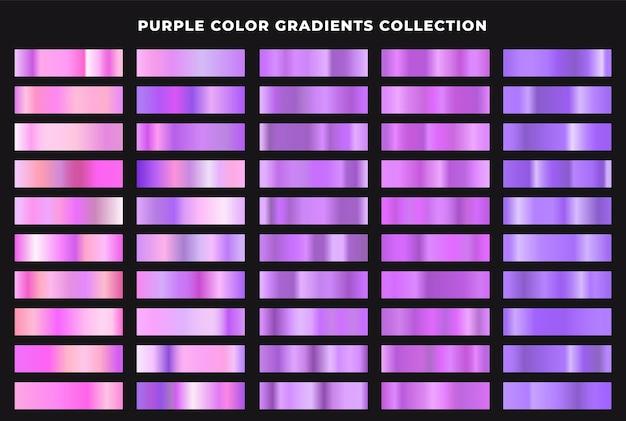 Zestaw kolekcji fioletowych gradientów koloru. faktura folii, elegancka, błyszcząca i jasnofioletowa kolekcja gradientowa.