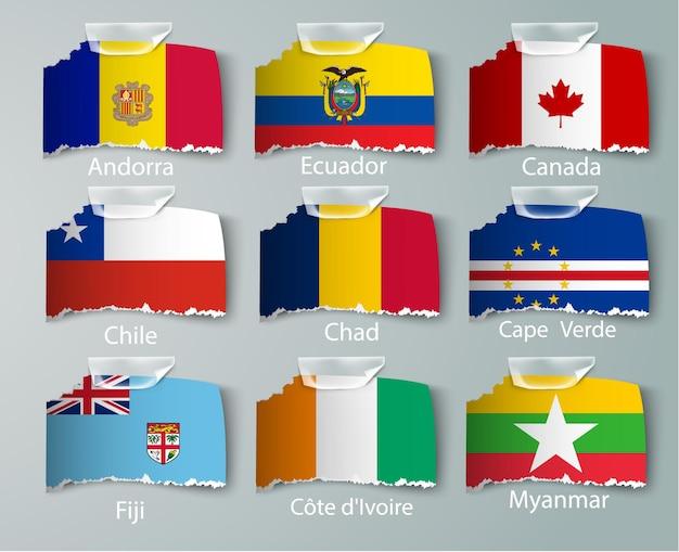 Zestaw kolekcji flag nigerii na białym tle