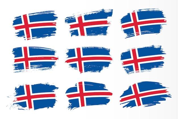 Zestaw kolekcji flag obrysu pędzla islandii