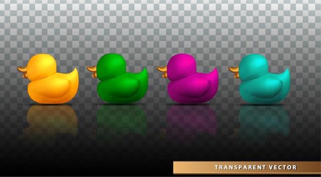 Zestaw kolekcji gumowej kaczki na letnią ilustrację wektorową