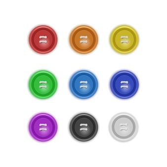 Zestaw kolekcji guzików do ubrań, realistyczne guziki w różnych jasnych kolorach. moda i robótki ręczne. ilustracja