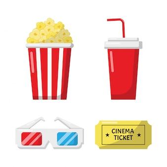 Zestaw kolekcji ikon i symboli kina dla stron internetowych na białym tle.