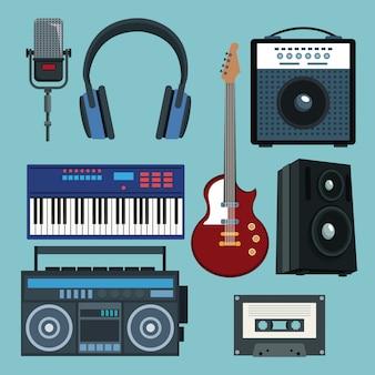 Zestaw kolekcji instrumentów muzycznych