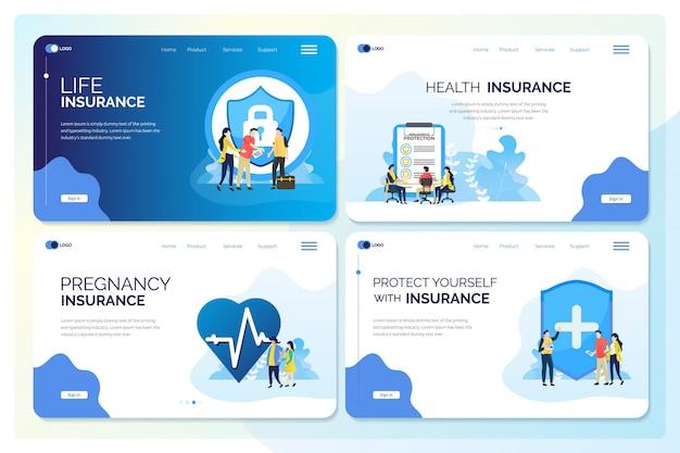 Zestaw kolekcji internetowej lub cyfrowego szablonu w ilustracjach ubezpieczeniowych