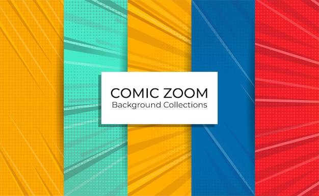 Zestaw kolekcji komiksów w tle powiększenia z pustymi liniami ostrości.