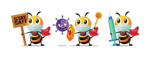 Zestaw kolekcji kreskówek słodkiej pszczół noszących maskę na twarz i walczących z pandemią koronawirusa