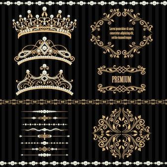 Zestaw kolekcji królewskich elementów projektu