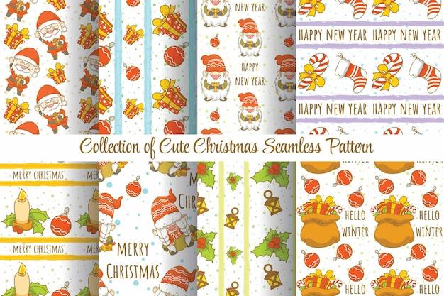 Zestaw kolekcji ładny świąteczny wzór bez szwu