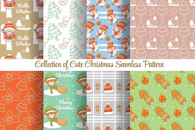 Zestaw kolekcji ładny wzór świąteczny i nowy rok