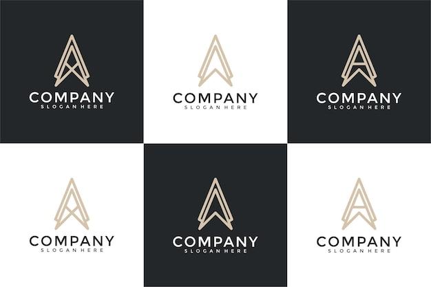 Zestaw kolekcji list monogram szablon projektu logo