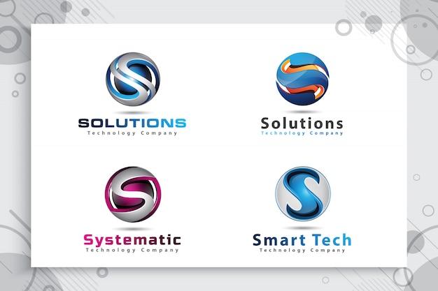 Zestaw kolekcji logo 3d letter s w nowoczesnym, kolorowym stylu.