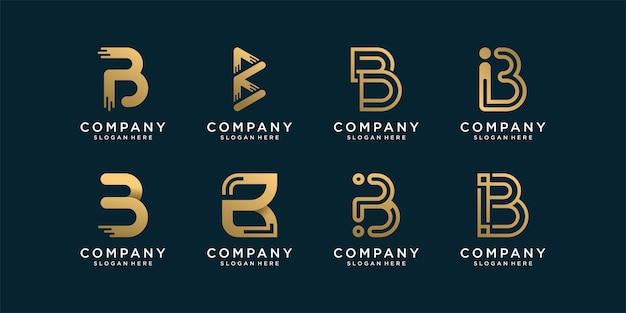 Zestaw kolekcji logo b ze złotym abstrakcyjnym stylem