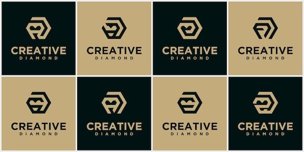Zestaw kolekcji logo diamentów