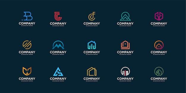 Zestaw kolekcji logo firmy z nowoczesną koncepcją konstrukcji, technologii, bezpieczeństwa i osobistego