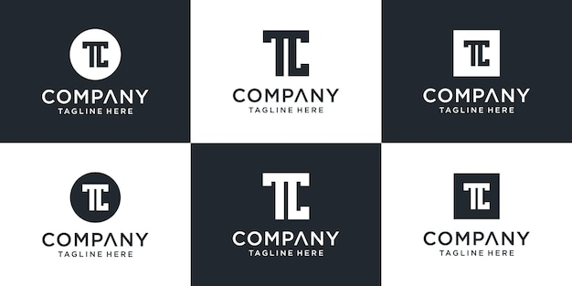 Zestaw kolekcji logo letter tc z czystym, odważnym i niepowtarzalnym stylem