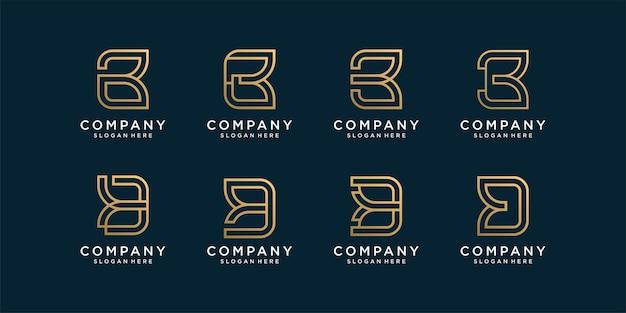 Zestaw kolekcji logo listu ze złotym inicjałem b.