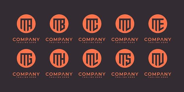 Zestaw kolekcji logo liter m i itp z kreatywną koncepcją