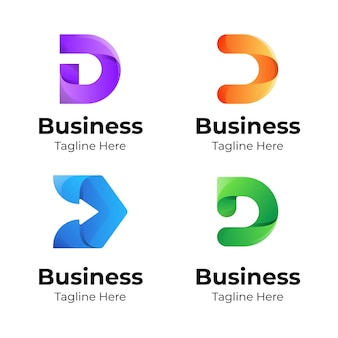 Zestaw kolekcji logo litera d z kolorową koncepcją dla biznesu