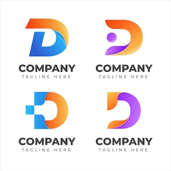 Zestaw kolekcji logo litera d z kolorową koncepcją dla firmy