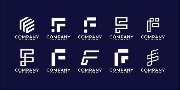 Zestaw kolekcji logo litera f