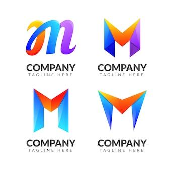 Zestaw kolekcji logo litera m z kolorowym pomysłem na biznes