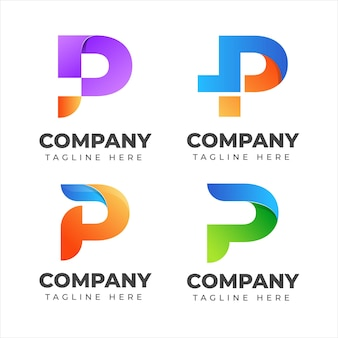 Zestaw kolekcji logo litera p z kolorową koncepcją dla firmy