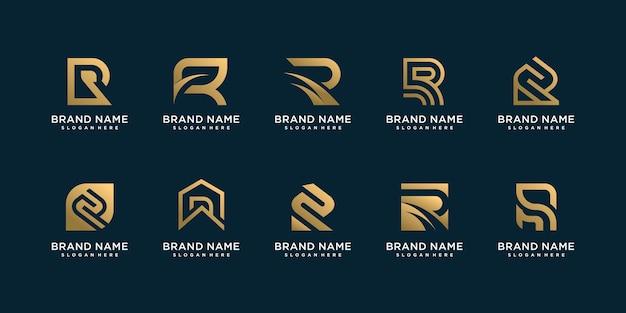 Zestaw kolekcji logo litera r ze złotą koncepcją doradztwa, początkowej, finansowej firmy