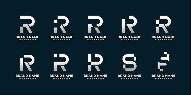 Zestaw kolekcji logo litera ris z kreatywną nowoczesną koncepcją