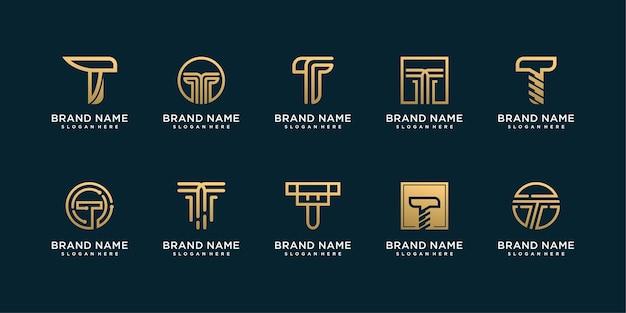 Zestaw kolekcji logo litera t ze złotą abstrakcyjną koncepcją
