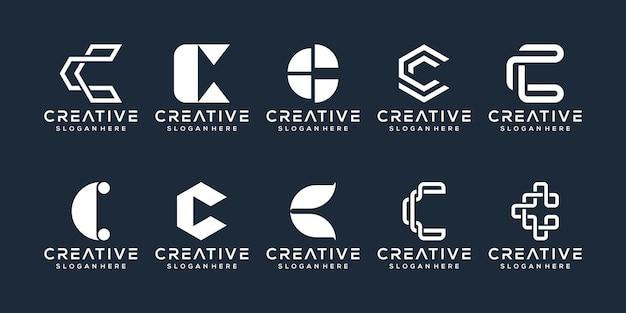 Zestaw kolekcji logo litery c