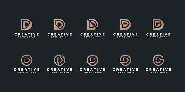 Zestaw kolekcji logo litery d w koncepcji koła i nowoczesnym kształcie premium vecto