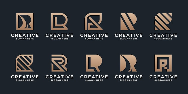 Zestaw kolekcji logo litery r ze złotą koncepcją dla doradztwa biznesowego, firmy początkowej, finansowej