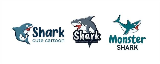 Zestaw kolekcji logo maskotki słodkiej postaci rekina