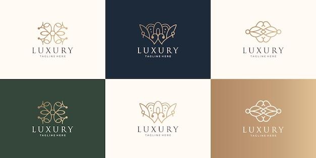 Zestaw kolekcji logo ornament. projekt w stylu sztuki linii, abstrakcyjny kształt, koncepcja twórcza, dekoracja.
