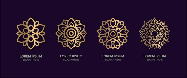 Zestaw kolekcji logo złotej mandali