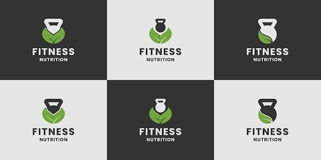 Zestaw kolekcji logo żywienia fitness
