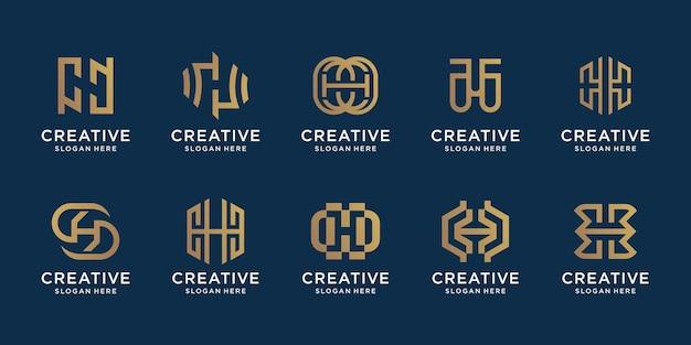 Zestaw kolekcji monogram h logo szablon kreatywny znak litery h projekt w połączeniu ze stylem sztuki linii elegancka tożsamość monogramu firmowe proste wektor premium