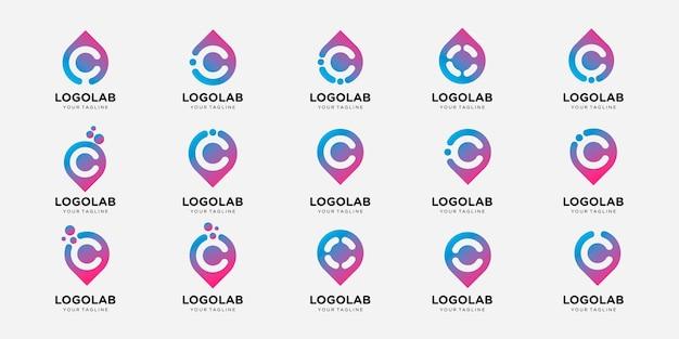Zestaw kolekcji monogram litera c z szablonem logo koncepcja pin i upuść.