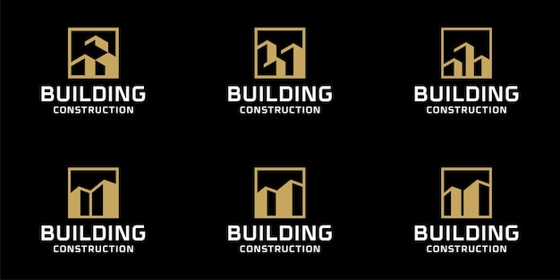 Zestaw kolekcji monogramów budowlanych logo pakiet inspiracji szablon