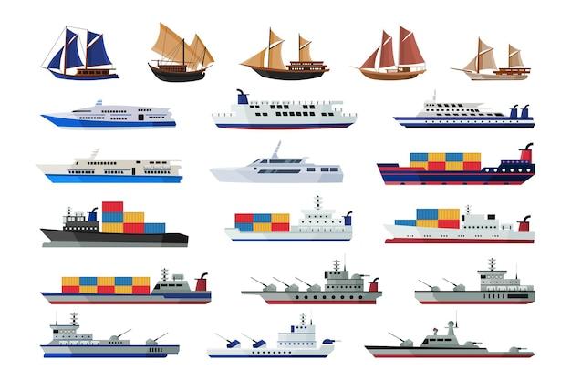 Zestaw kolekcji morskich statków żeglujących łodzie transportem wodnym