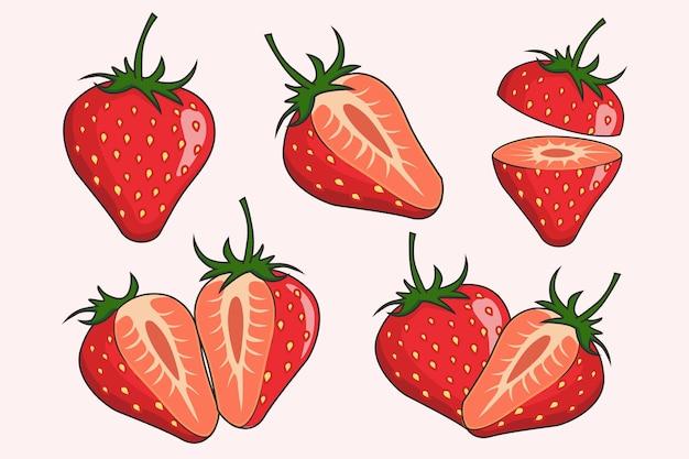Zestaw kolekcji owoców truskawek