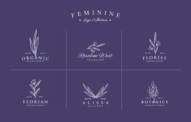Zestaw kolekcji pięknych, ręcznie rysowane botanicznych logo