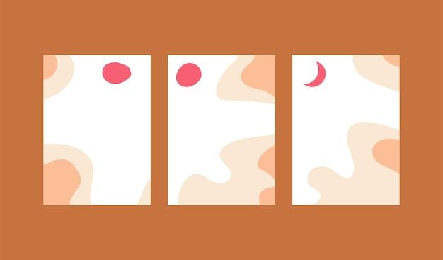 Zestaw kolekcji plakatów w tle pionowej streszczenie minimalnej sztuki