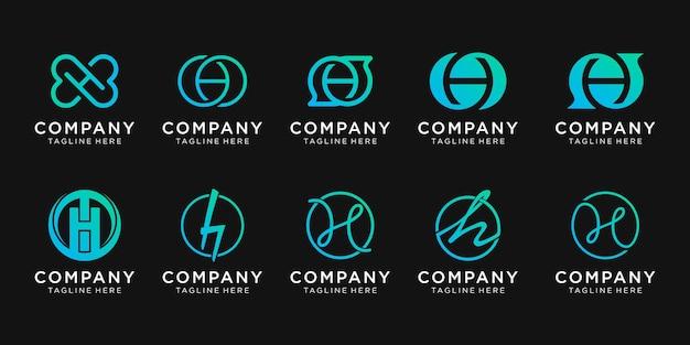 Zestaw kolekcji początkowej litery h logo z koncepcją czatu.