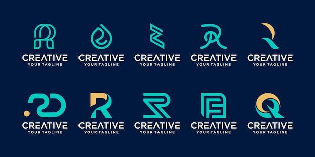 Zestaw kolekcji początkowej litery r rr logo szablon ikony dla biznesu mody sportowej