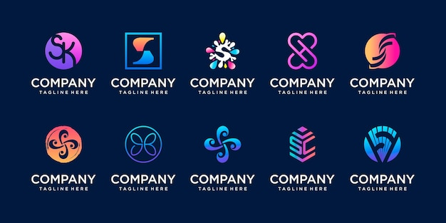 Zestaw kolekcji początkowej litery s ss logo szablon ikony dla biznesu sport automotive
