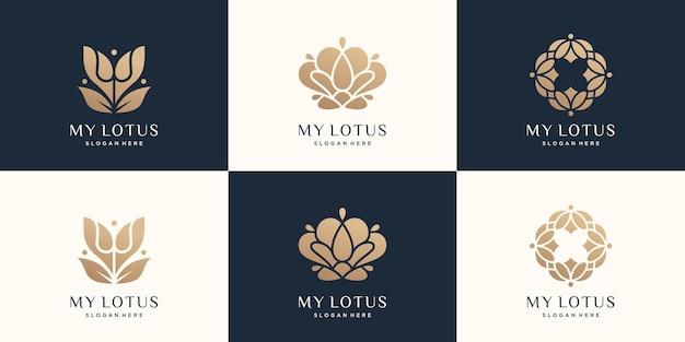 Zestaw kolekcji projekt logo lotosu złoty luksusowy płaski styl abstrakcyjne logo kwiat lotosu natura premium wektor